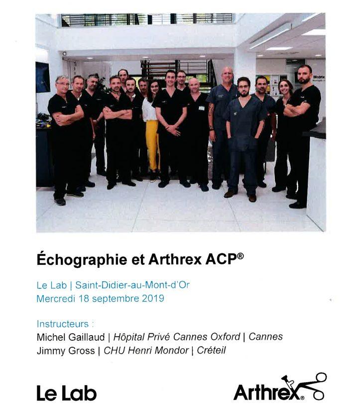 Echographie et Arthrex ACP
